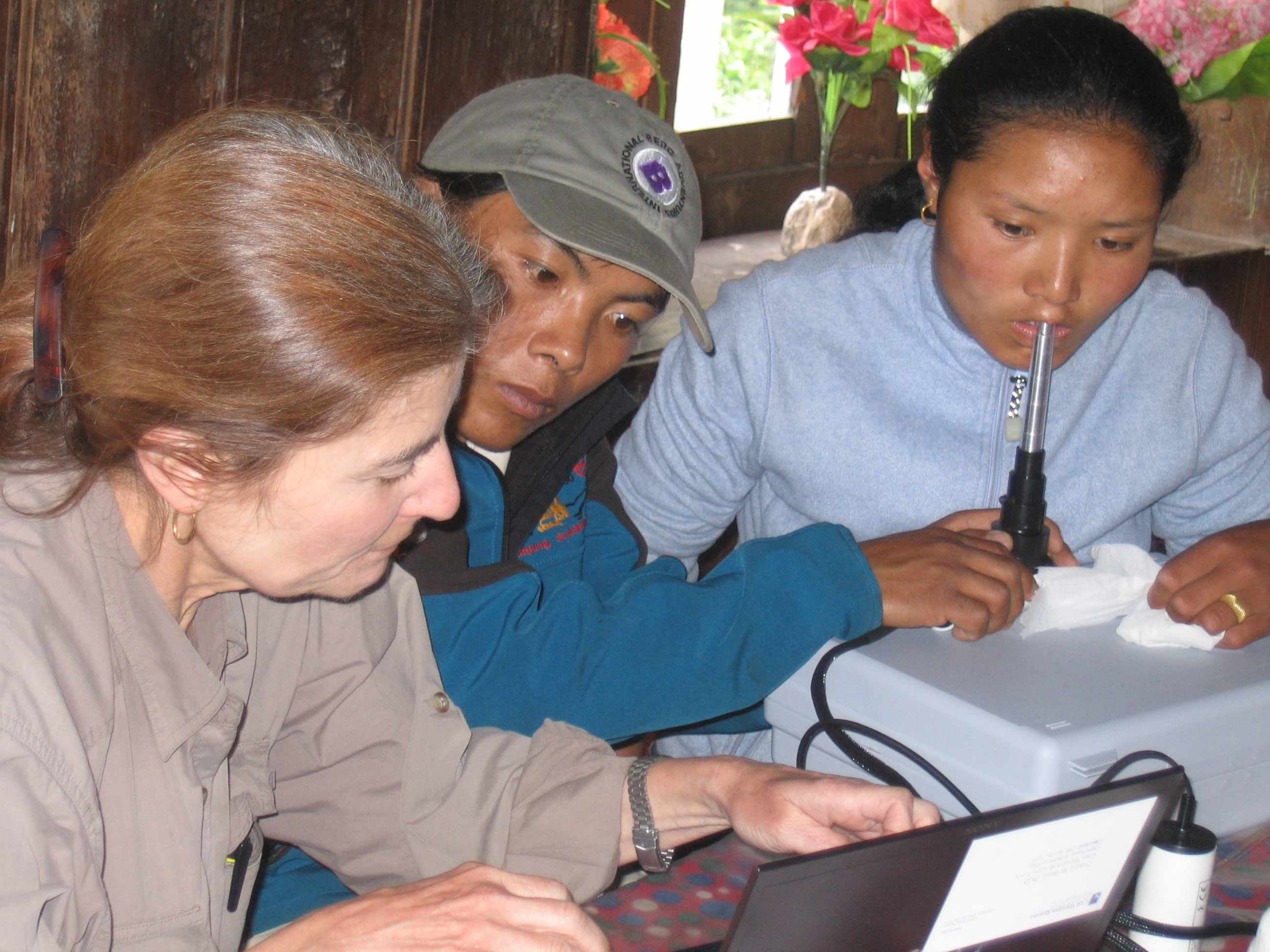 Professor Cynthia Beall in Khumbu Nepal using KK Technology HVCS Handheld CapiScope